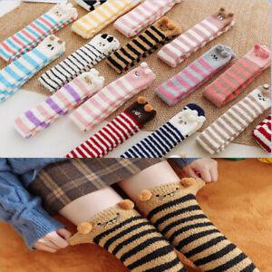Girl Animal Modeling Knee Socks Striped Cute Lovely Kawaii Cozy Long Thigh High