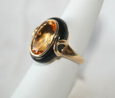14K Yellow Gold Ring w/ Black Jade Jacket + Fine Honey Natural Citrine Sz 8 NEW`