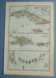 """1895 The Times Full Colour Map The Antilles 11"""" x 16"""""""