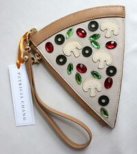 Patricia Chang Pizza Slice Wristlet w/ Wrist Strap Leather Coin Purse Pouch