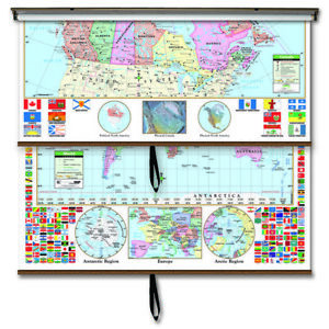Canada/World Primary Combo Classroom Wall Map on Roller w/ Backboard