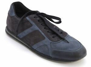 TOD'S Leather Sneaker Men's Suede Low-Top Navy Blue Lace Up Rubber Sole 8