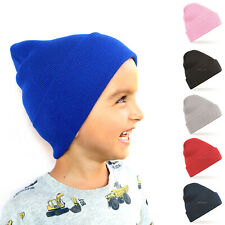 Kids Beanie Hat Ribbed Solid Plain Knit Cap Warm Winter Cuff Toddler Hats