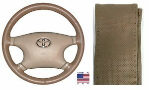 Perforated Oak Genuine Leather Steering Wheel Cover AXX For GMC & Other Makes