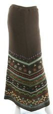 Double D Ranch Women's S Small Brown Maxi Skirt Embroidered Southwestern EUC