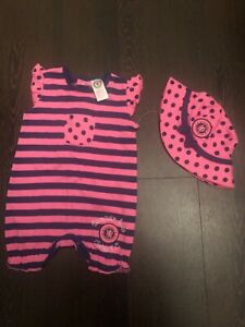 Chelsea FC baby girl outfit -babygro&hat,3-6 mnths,pink&blue,new,VGC,gorgeous!