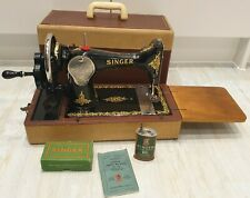 1958 Vintage SINGER 128K Handcrank Sewing Machine Rococo decal GRAPE ETCHED