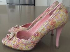 Retro VIA SPIGA Pink & Yellow Frangipani Print Leather Peep Toe Pumps Size 8