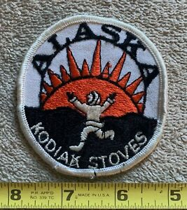 RARE patch KODIAK STOVES ALASKA ADVERTISING TRAVEL Collectors Vintage