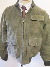 "POLO Ralph Lauren Zipped Suede Harrington Jacket S 34-36"" Euro 44-46 - Green"