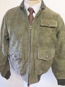 "POLO Ralph Lauren Zipped Suede Harrington Jacket S 34-36"" Euro 44-46 - Green"