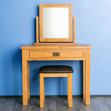 Surrey Oak Dressing Table Set / Solid Wood Set / Mirror & Stool Included / New