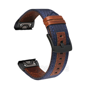 Stainless Steel Leather Watchband Strap For Garmin Fenix 5S 5X 6 6S 6X Pro Solar