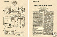 JEEP WILLYS US PATENT GP GPW Art Print READY TO FRAME!!!! World War II