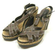 "Women's Antonio Melani Brown Leather Size 8 M Sandals 4"" Heel Adjustable Strap"