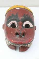 Antique Old HandCarved Painted Wooden Tribal Demon Face Mask Wall Hanging NH2129