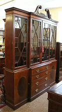 Large Mahogany Baker Chippendale Mahogany Breakfront Bookcase China Cabinet