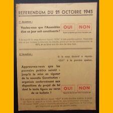 Bulletin de vote du RÉFÉRENDUM DU 21 OCTOBRE 1945