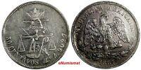 Mexico SECOND REPUB.Silver 1887 ZS Z 50 Centavos Zacatecas Mint-63,000 KM# 407.8