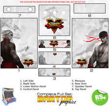 Street Fighter 5 Full/Half Sets Arcade Artwork Stickers Graphics / Laminated