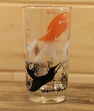 "Vintage Flying Birds Multi Colour Bar Drinking Glass Tumbler 5"" Tall"