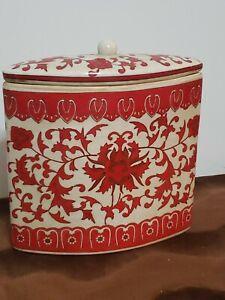 Unique Elliptical Shape Red Decorative Ceramic Container with Lid