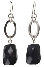 £35 Minimalist Silver Rhodium Black Faceted Glass Oval Square Drop Earrings