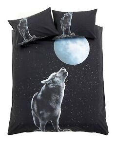 3D Moonlight Wolf Print Duvet Cover With Pillowcase Bedding Set
