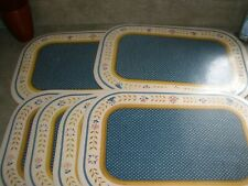 Lot of 6 Town & Country Plastic Placemats Blue Floral