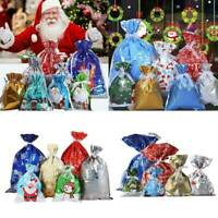 10x Christmas Drawstring Gift Candy Bags Treat Bags LargeWrapping Xmas Party
