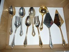 Lot of 9 GOLD TONE CAKE SERVER serving spoons forks International silver Co  IS