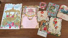 Lot 8 Children's Vintage Valentine Greeting Cards & Die Cut FoldOut Honeycomb +