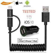 Spring Coiled 2-IN-1 Lightning  to USB Cable Apple MFI Certified & Car Charger