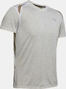 Under Armour Mens T Shirt Summer Pullover Gym Running Tee White/Khaki