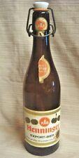 Rare Henniger Export Amber Bottle w/ Porcelain Stopper & Paper Label