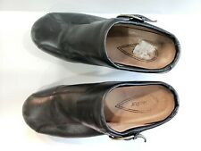 Sanita Womens Nikita Size 42 BLACK Leather Clog Mule with buckle Shoe Pre-owned