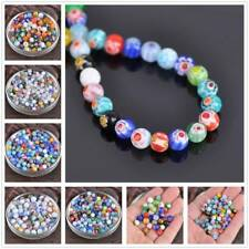 6mm 8mm Round Millefiori Flower Lampwork Glass Spacer Loose Beads lot Jewelry
