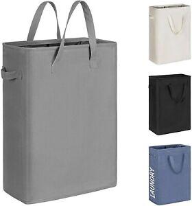 45L Slim Laundry Hamper Small Laundry Basket Narrow Thin Laundry Hamper   (Grey)