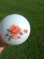 SMALL White Milk Glass Frosted Round Globe Lamp Shade Ceiling Fixture/Red Roses