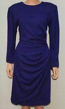 VINTAGE Emanuel Ungaro Purple 100% Pure Wool Wrap Long Sleeve Dress SZ 12/46