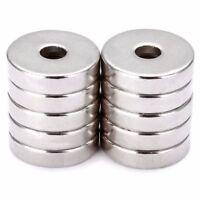 10 Stück N52 Neodym Supermagnete Runde Scheiben Magnet 20mm Loch 5mm