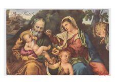 carte postale religieux vintage Noël - Bonifacio sacré Famille Angiolo et Tobias