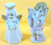 """VTG Japan Porcelain Angel 2 Figurines 4"""" Singing & Cherub Angel Holding Candles"""