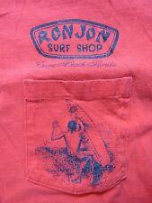 VINTAGE RON JON POCKET T SHIRT MENS SZ L RED SURF BEACH COCOA BEACH FLORIDA