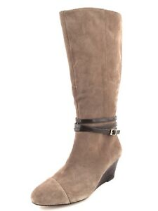 Sole Society Nila Taupe Suede Wedge Knee High Boots Womens Size 9.5 M *