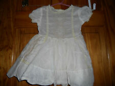 Vintage toddler dress 1940's? 1950's? ivory lace & embroidery buttons size 2 /3