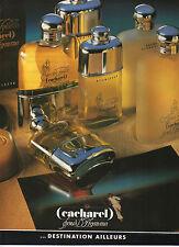 Publicité Advertising 1986  Parfum Eau de Toilette CACHAREL pour l'homme