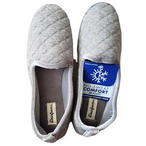 Dearfoams Women's Large 9/10 Heather Gray Quilted Loafer Slippers Memory Foam