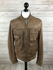 DOLCE & GABBANA Leather Bomber Jacket - Medium - Brown - Good Condition - Mens