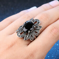 Vintage Retro Hollow Flower Black Onyx Silver Plated Cocktail Ring Size 10